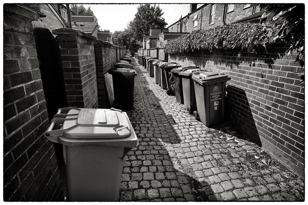 The bins are out in Sale, South Manchester.  Near where I've been working today.
