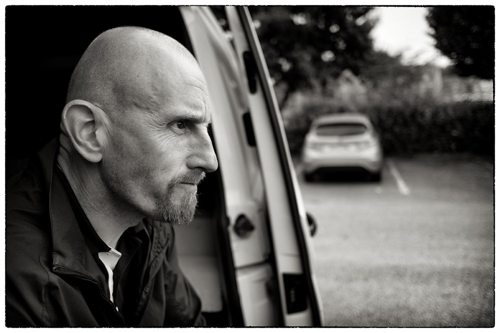 Alan Sheldon our sound recordist in Crewe today. Sat in the van waiting for the rushes to transfer.