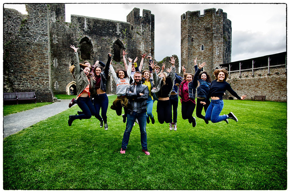 The Choreographer and his dancers at the end of the shoot.  Caerphilly, South Wales.