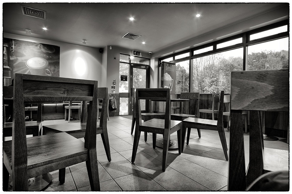 Love this 1950s café interior. Except it's not, it's 2014 Starbucks just outside Wrexham.