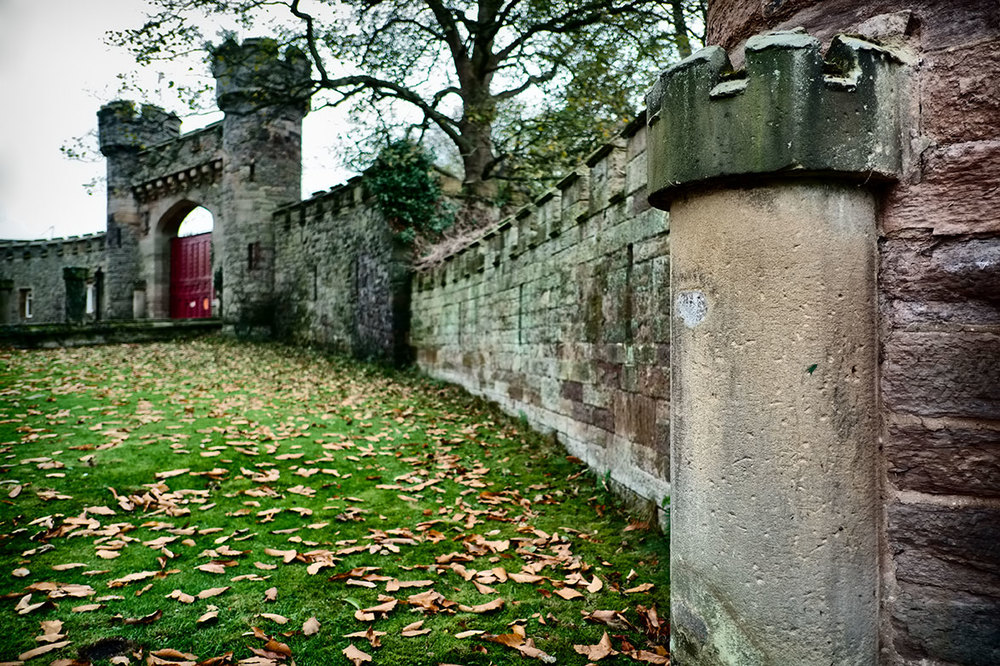 Castle gates, Hawarden Castle.  Home of the Gladstone family.