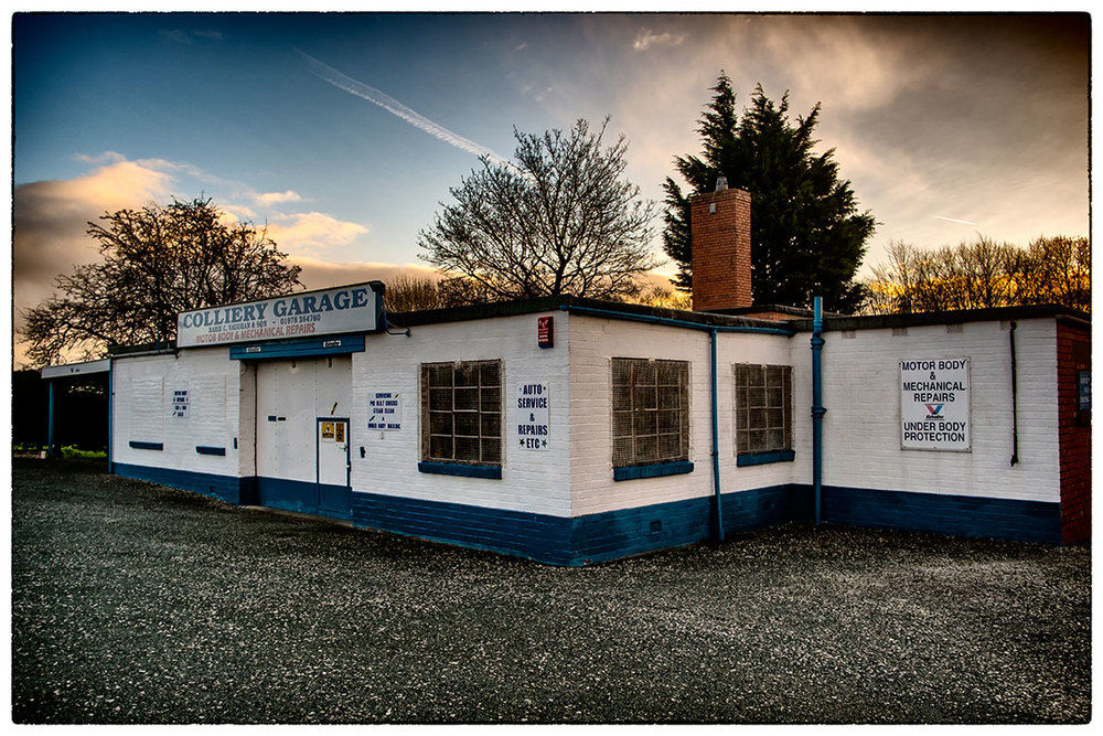 The Colliery Garage, Bersham earlier on this morning just after sunrise.