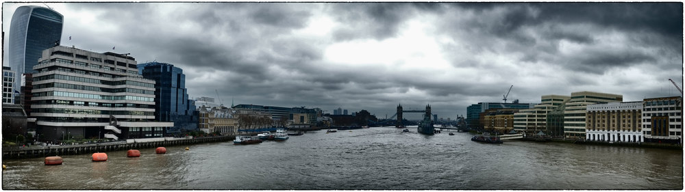 Panoramic view of the Thames looking towards Tower Bridge.