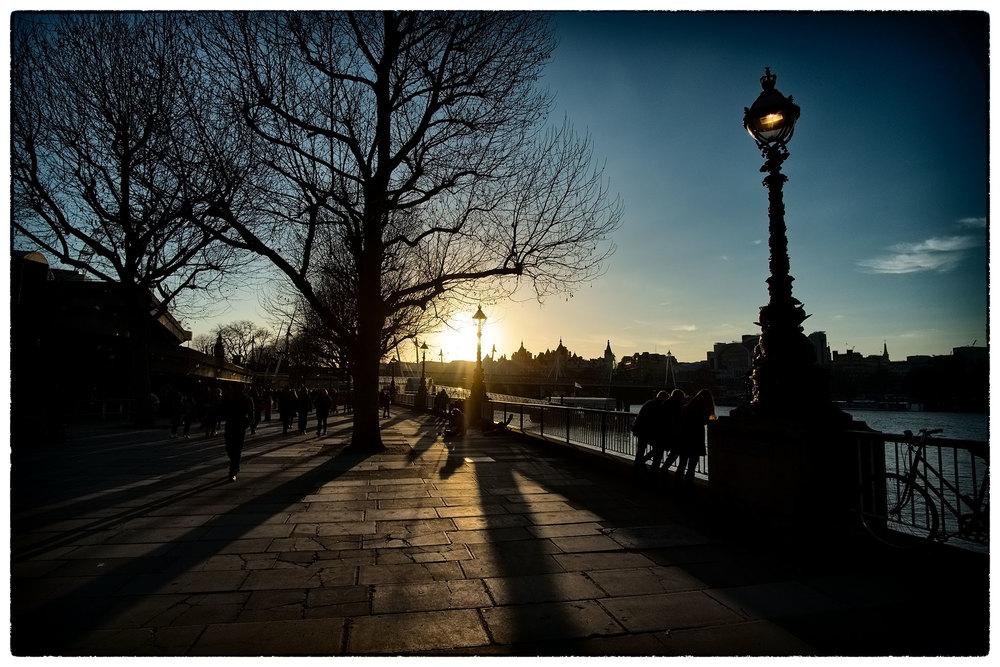Sunset on the Embankment. London.
