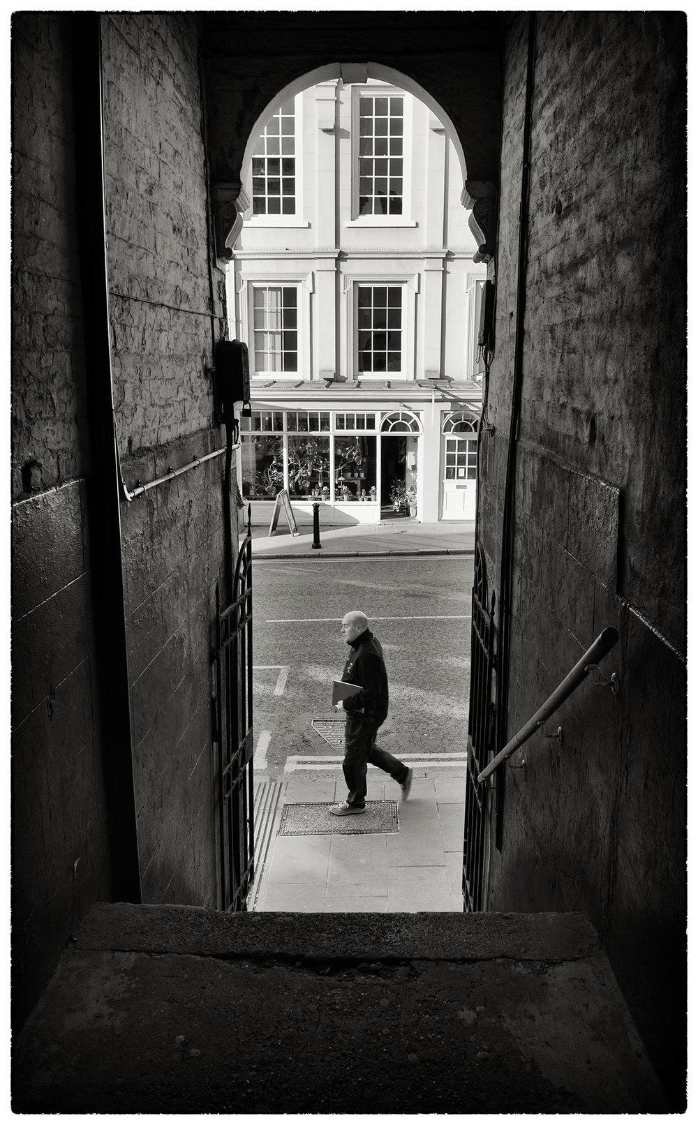 Passageway leading onto Lower Bridge Street, Chester, this morning.