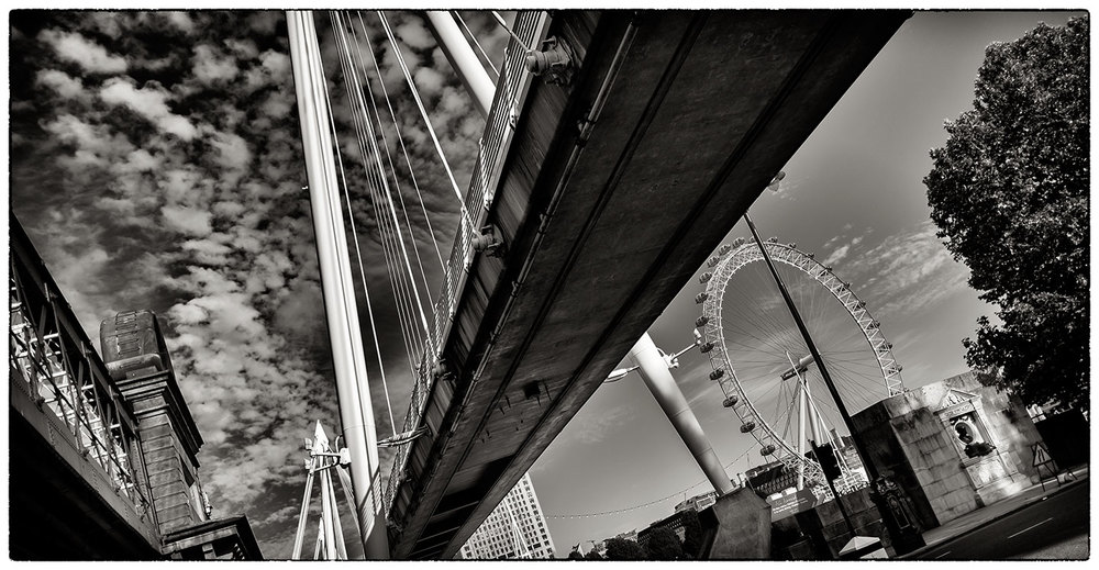In London today for a meeting. This was on the way back to Embankment Underground. The Millennium Bridge and the London Eye.
