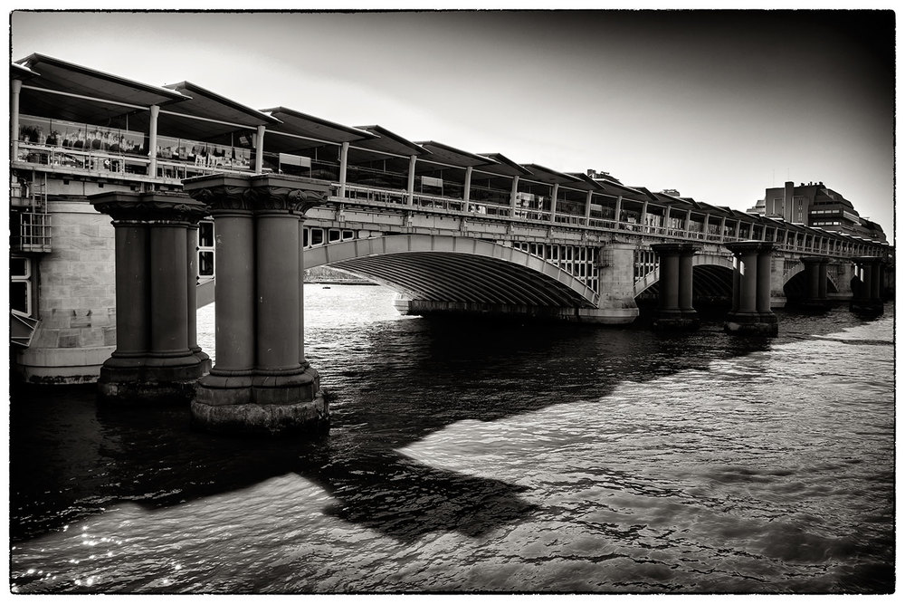 Bridge and pillars, next to Blackfriars Bridge, London.