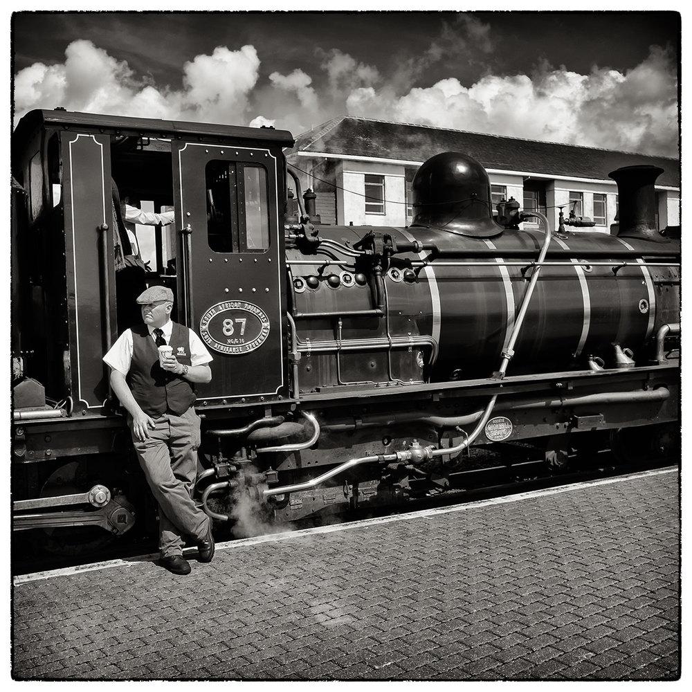 Waiting for the departure time, Ffestiniog railway, Porthmadog.