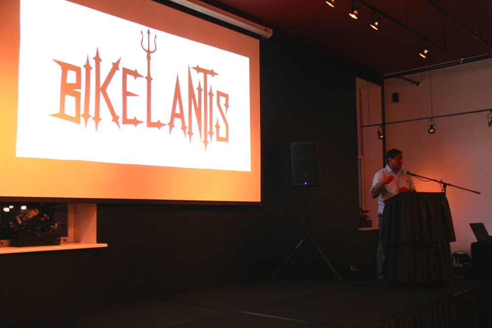 Producer Luis Eduardo Villamizar answers questions and presents the official trailer at the kick-off event in Lafayette, Indiana.