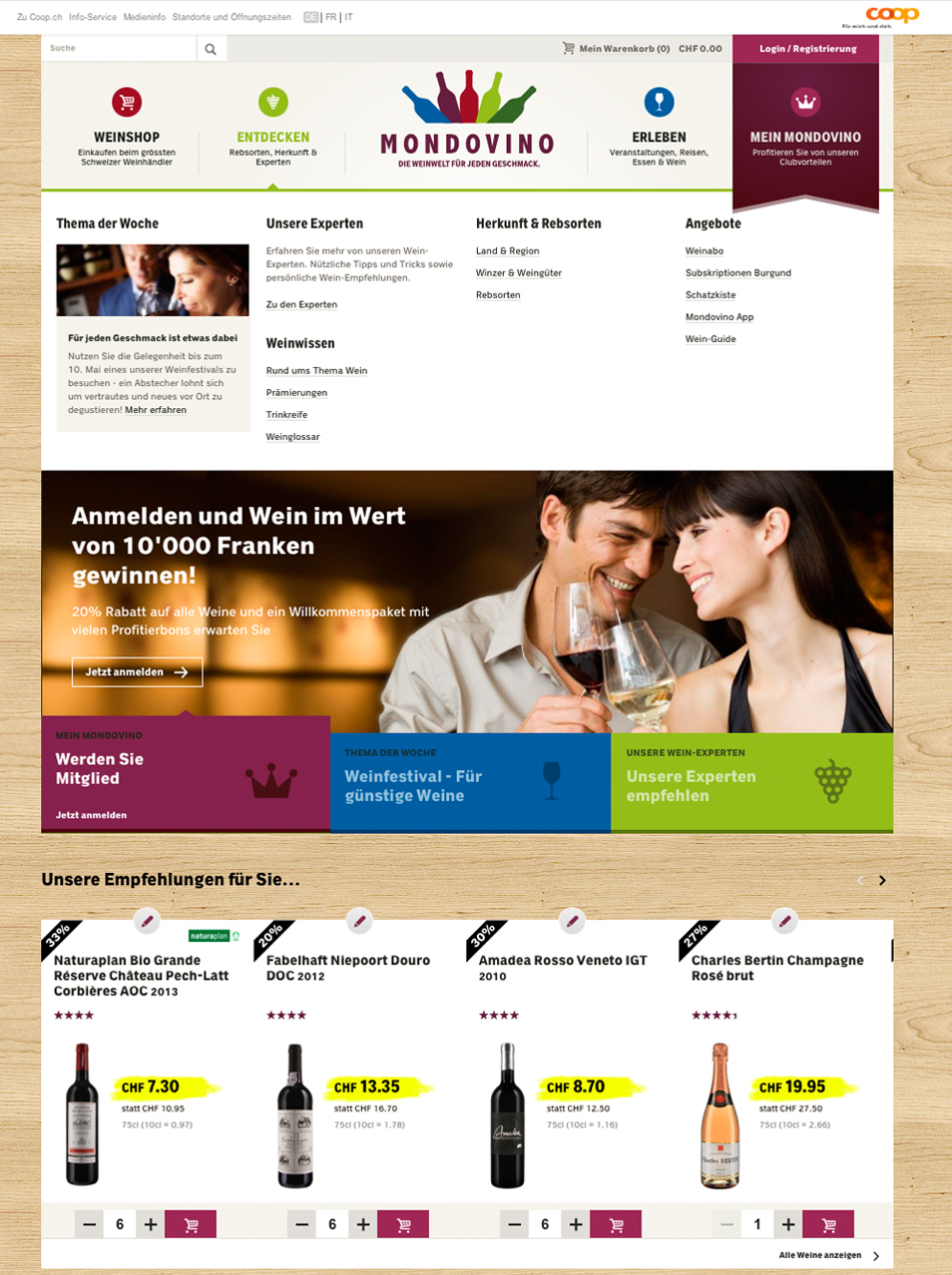 The start page of the online shop
