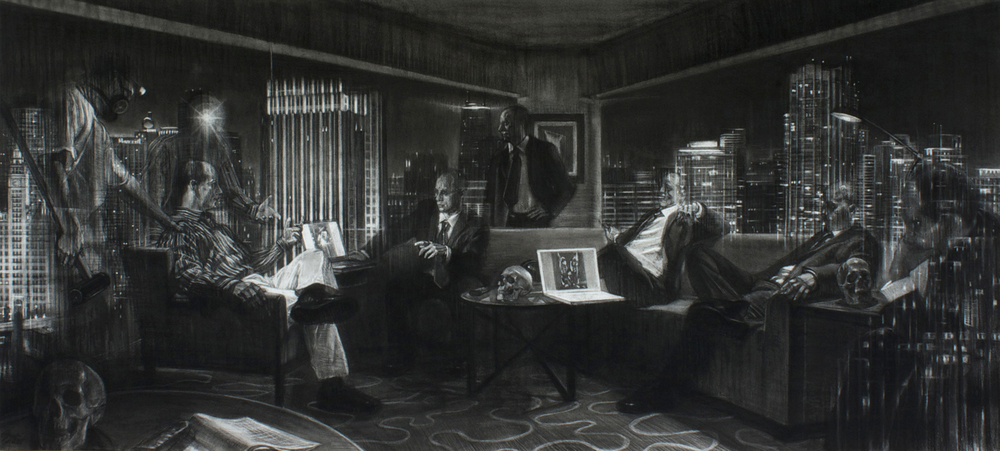 "Urbis Nocte, charcoal on Rives BFK paper, 80"" x 40"", 2013"