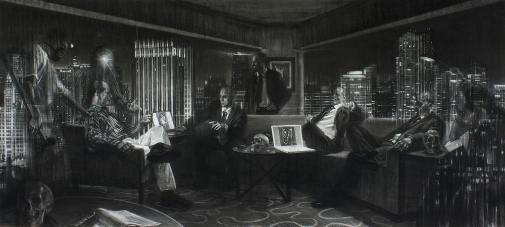 """Urbis Nocte, charcoal on Rives BFK paper, 80"""" x 40"""", 2013"""