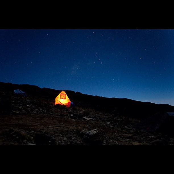 Oforo and Julius burning the midnight oil on Kilimanjaro…
