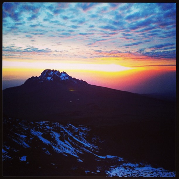 Mt. Mwenzi from Stella Point. Sunrise 1/7/2013  #kilimanjaro #sunrise #adventure #climbing #travel