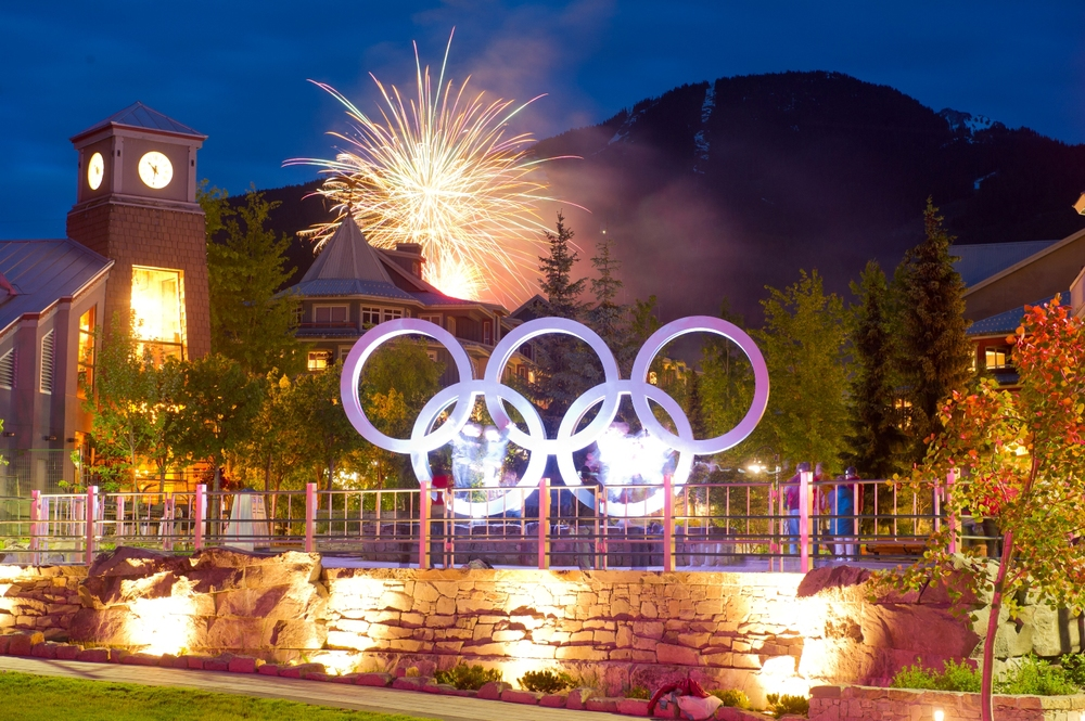 Olympic Rings at night