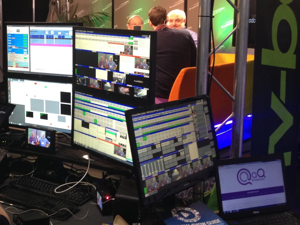The aQ Production Suite in use at BVE 2014, showing four operator screens (in this configuration) and one administrator position.