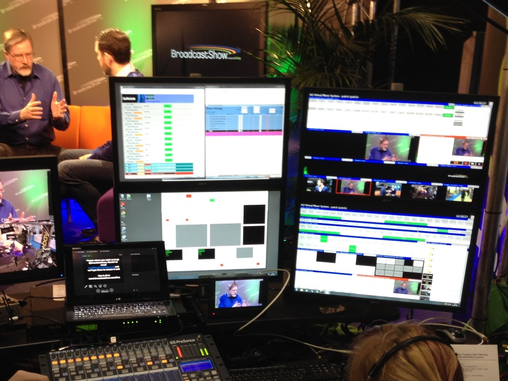The operator's view of the aQ Production Suite during one of the BroadcastShow productions during BVE 2014.