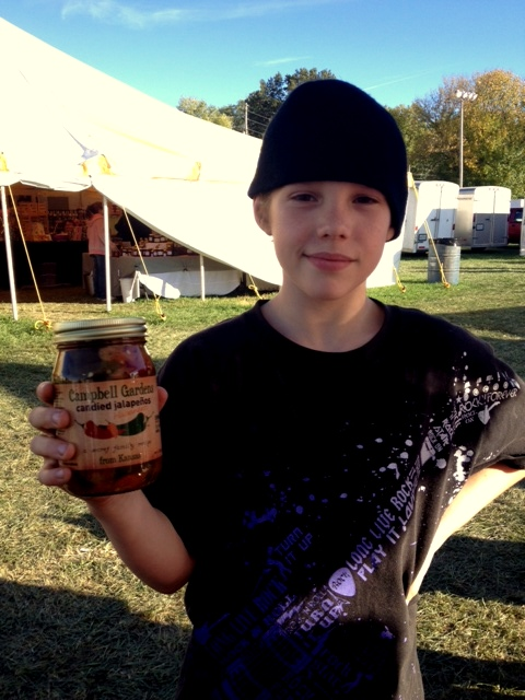 Amos last year with his favorite jar of peppers!