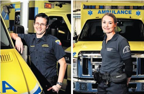 """©LAURENT GUIRAUD """"Laurent De Giuli et Véronique Dusserre-Haegi, ambulanciers: «Les missions sont de forte intensité mais concentrées sur une courte période. Le métier offre aussi autonomie et responsabilités.»"""""""