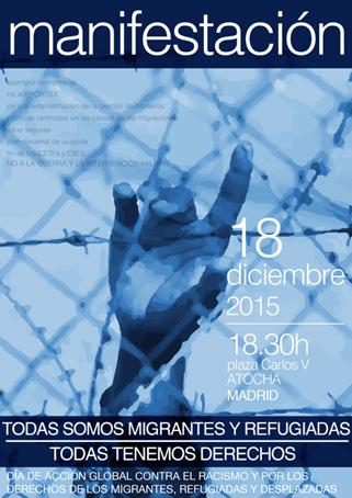 18 de diciembre 2015 a las 18:30 Plaza Carlos V - Atocha (Madrid)
