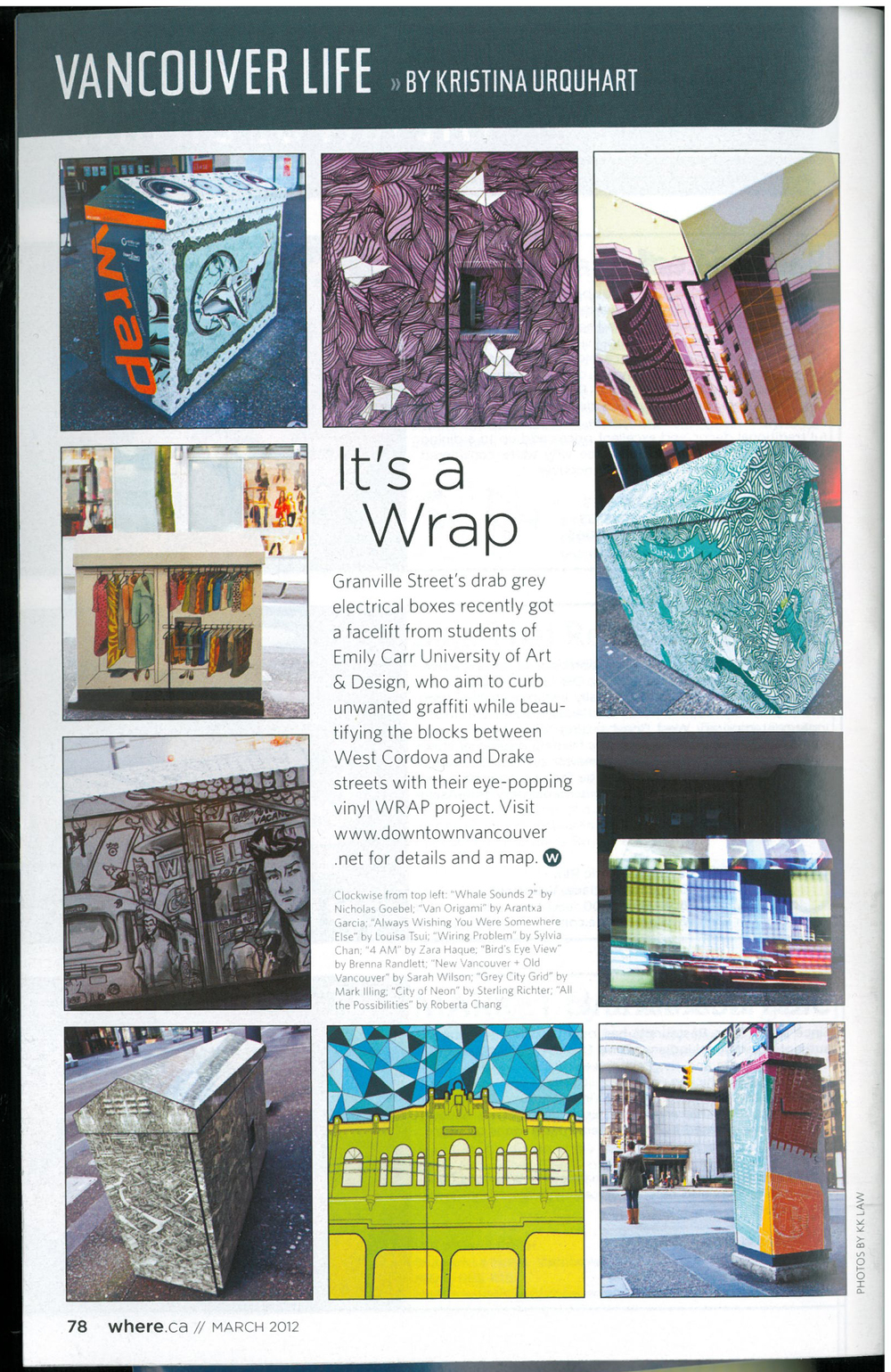 WRAP featured in an edition of where magazine - March 2012.