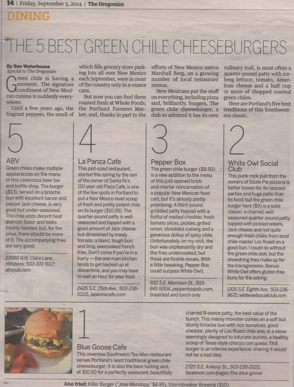 The Oregonian A&E, Friday Sept. 5th, 2014