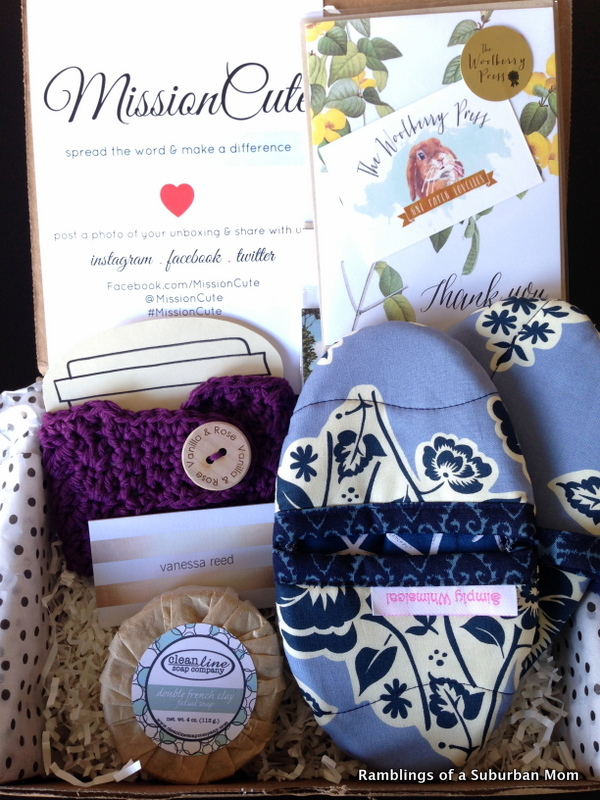 Each MissionCute box comes with at least 2 items made by small-but-mighty artisans and local businesses and each month they partner with a different nonprofit to help promote their mission. - ramblingsofasuburbanmom.com
