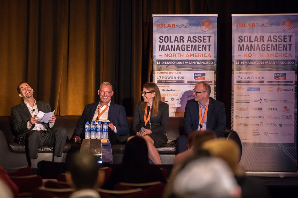Pictured here from left to right are Cedric Brehaut (Solichamba/moderator), Marty Rogers (NEXTracker), Vania Mesrob (Coronal Energy), and Frank Lebreton (QOS Energy).