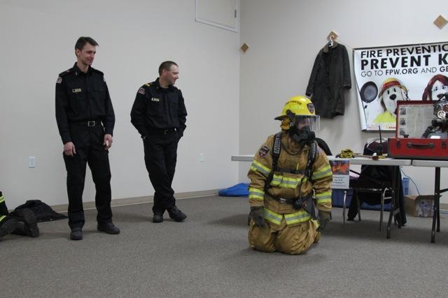 Firefighter Jeff Vert, Captain Al Bickford, MP  Blaine Calkins (in bunker gear)