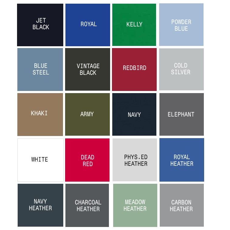 665f0fb9 THESE COLOURS RELATE TO CASUALWEAR HOODIES AND T-SHIRTS. PLEASE CONSULT THE  INDIVIDUAL ITEM LISTINGS TO SEE WHAT IS AVAILABLE IN EACH PARTICULAR DESIGN  OR ...