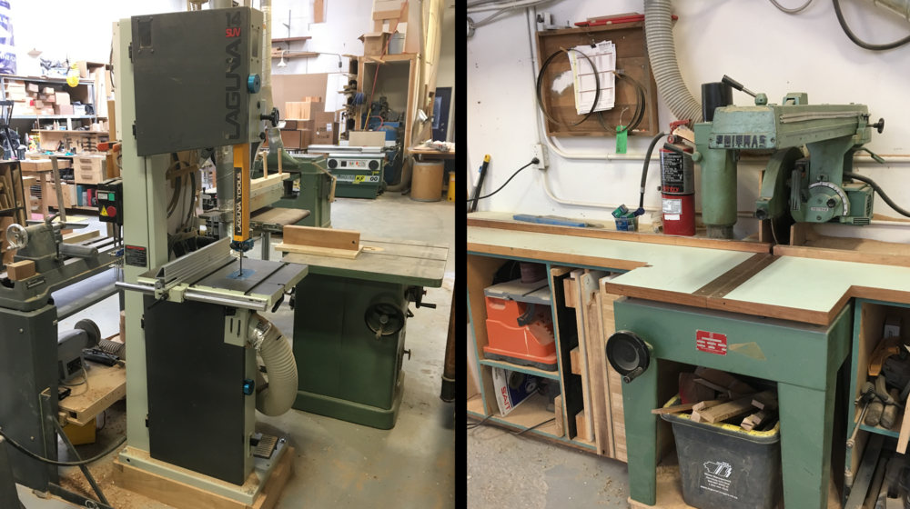 First the band saw and radial arm saw are used to do a rough rip (cut along the grain) and cross cut (across the grain) of the board.