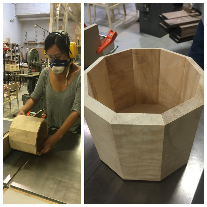 Left: Bevelling each planter side on the top & bottom   Right: The planter in all its beveled glory!