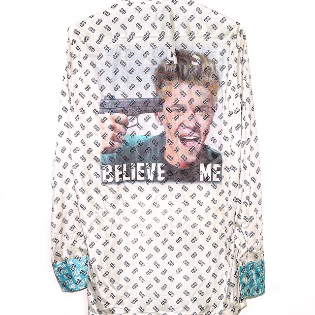 "#Handcrafted #Vintage #BillBlass #JustinBieber #PleaseBelieveMe long sleeve #polyester #shirt in good condition. Ultra soft sublimated ""Please Believe Me"" print on back. This unique Vintage Bill Blass button down dress shirt is a incredibly #hilarious vintage piece. This one of a kind button down shirt will keep the heads turning ... Great for #concerts, nights out at the #club, and your self-esteem.  THIS SHIRT WOULD MAKE YOU MUCH COOLER , AND SIGNIFICANTLY MORE ATTRACTIVE."