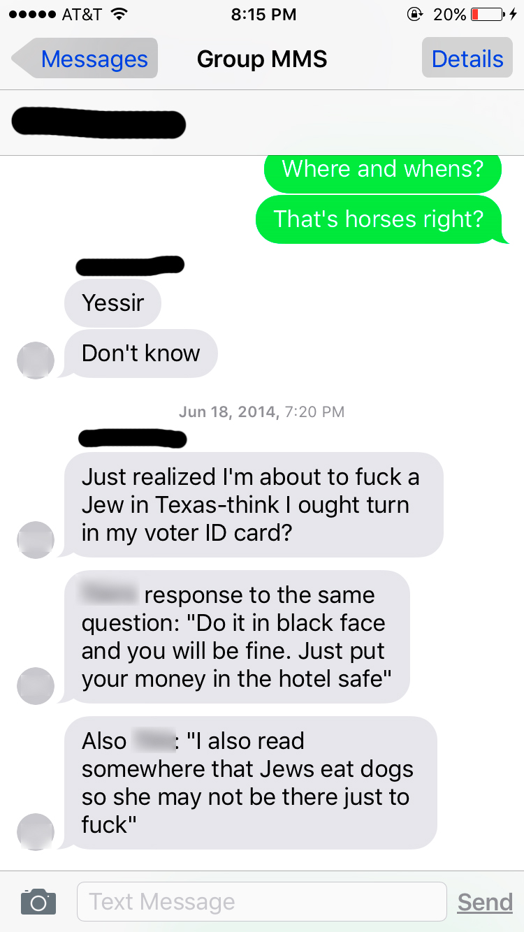 Here's the SMALLEST sample of the atrocious messages my man would receive. He received the most abusive messages I've ever laid eyes upon. They cause my eyes, and soul to puke. This is the type of abuse I was hoping to be saved from when booking our business trip to set up a new point of sale AWAY from this BIG BIGOT !
