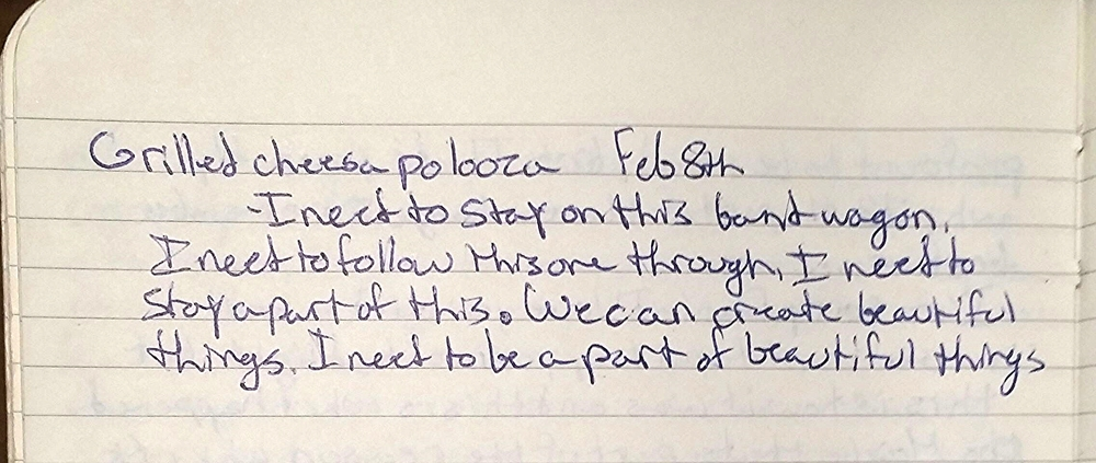 "Logan's journal entry, Feb. 8, 2013:  ""I need to stay a part of this.  We can create beautiful things.  I need to be a part of beautiful things"""