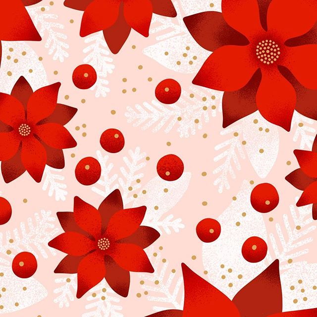 When you do a lot of seasonal surface and stationery design, not liking the way you draw poinsettias is not an option. So, I set a goal for myself: figure out how to do it in a style I use a lot while making sure it doesn't look like a dahlia. I've drawn a lot of poinsettias lately... including a ton on this pattern. #graphicdesign #graphicdesigner #minted #mintedartist #christmas #poinsettias #floral #flowers #flowerstagram #surfacedesign #surfacedesigner #patterns #pattern #patterndesign