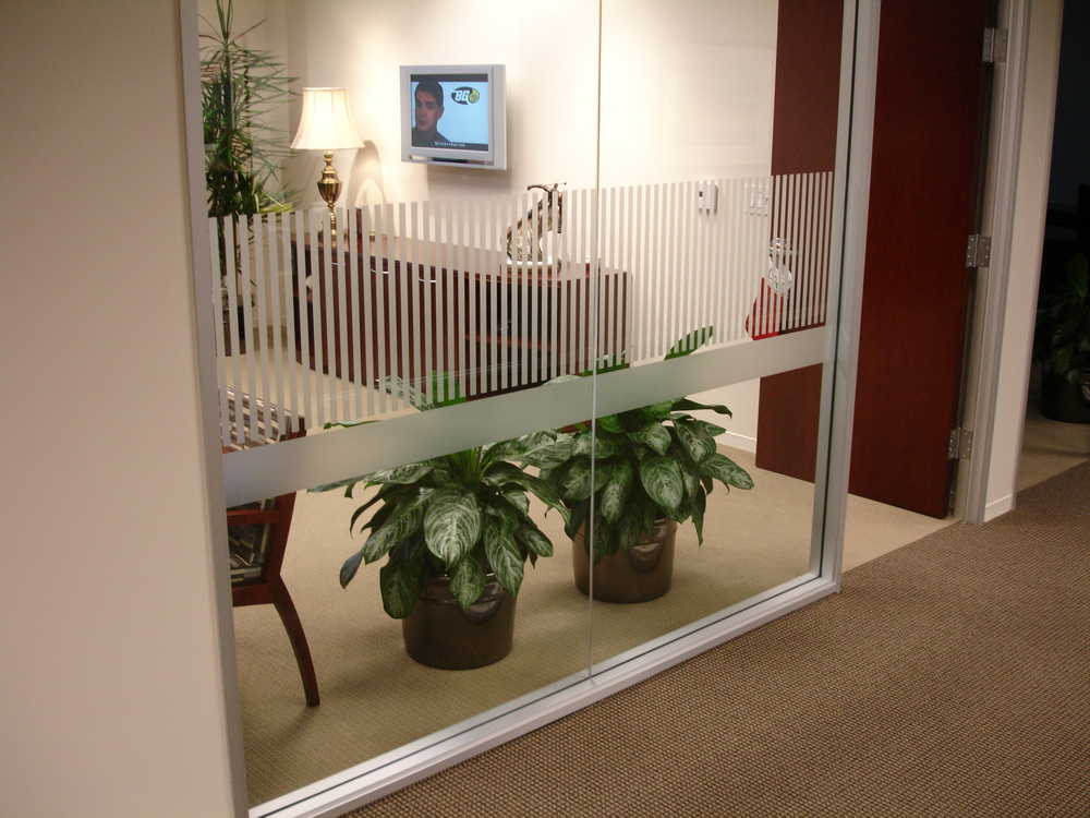 Simple design on waiting room glass