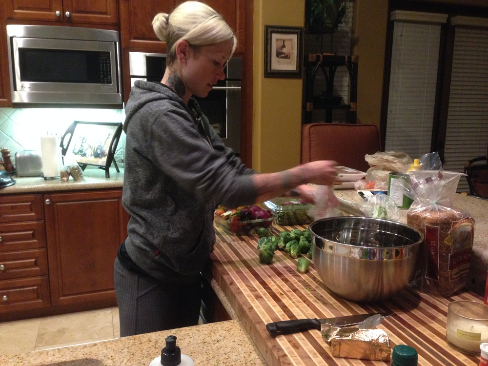 Kelli making dinner