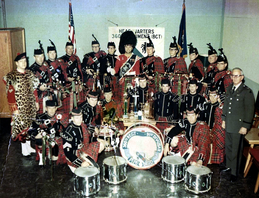 Photo courtesy of Chuck Jameson (Archivist of the Sacramento Caledonian Club and St. Andrews Society)   360th Regiment, 91st Division (USAR) Pipe Band (Sacramento) (1965)