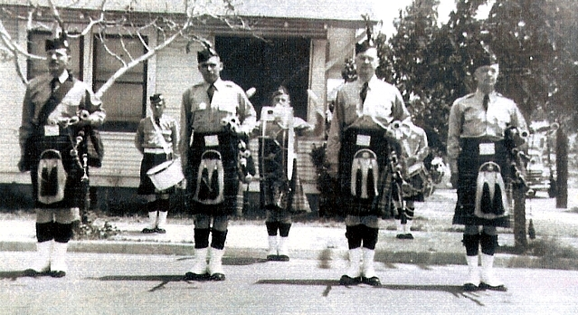 Photo courtesy of Rick Coffee Phelan Stewart Boyd Schwan Short McPherson Fiddes   Berkeley Post No. 113 Canadian Legion Pipe Band (1950). Antioch Fair Parade