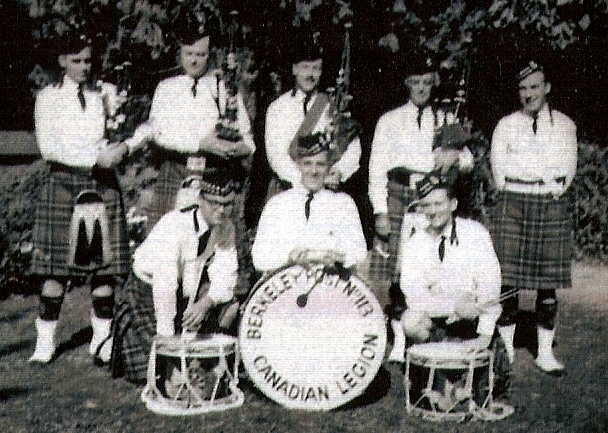 Photo courtesy of Rick Coffee Short McPherson Schwan Fiddes Stewart Coffee Unknown Boyd Berkeley Post No. 113 Canadian Legion Pipe Band (1951)