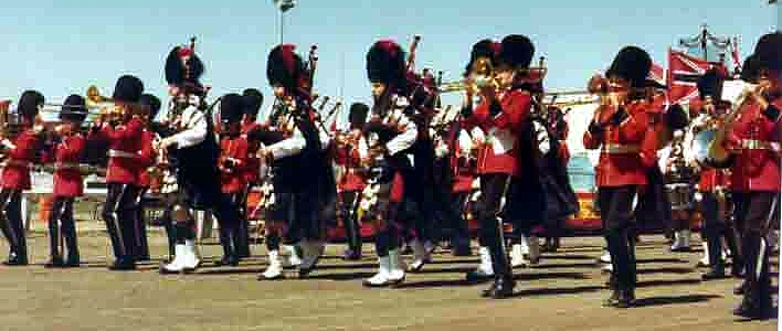 Photo courtesy of Ken Snodgrass The Black Raven Pipe Band (1979) Santa Rosa Games with the Fairfield High School Band