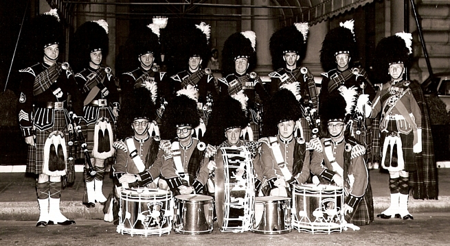 (The Associates, Commercial Photography, SF, CA) John Biggar Ian Campbell Russ Sholl Mike Avril Dave Blue Unknown Don Fiddes Geoffrey Baldwin Jack Sutherland Rick Coffee George McKay Herb Briggs Jack Murphy   Caledonian Pipe Band - 1958 (?).