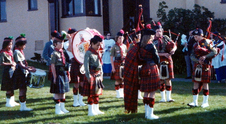 Photo courtesy of Charlie Martin   SF Boy Scout Pipe Band (1978)  St. Martin's Church, Daly City