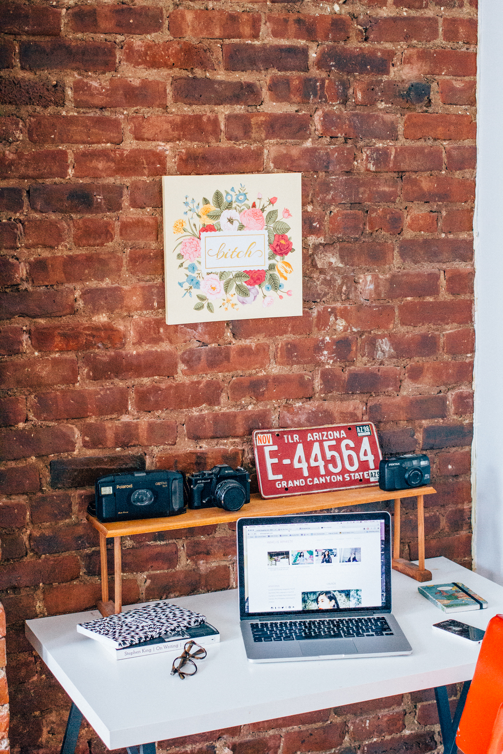 brick wall studio workspace