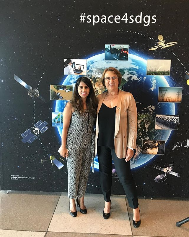 "Our co-founder and Simonetta Di Pippo at the opening event of ""My Planet, My Future: Space for the Sustainable Development Goals"" exhibition! 🌎 . . . #luminoustudios #unitednations #myplanet #myfuture #sustainability #development #sustainabledevelopment #sustainabledevelopmentgoals #space #technology #protect #restore #simonettadipippo #aminamohammed #pierredelsaux #carlosdesdorides #millindpimprikar"