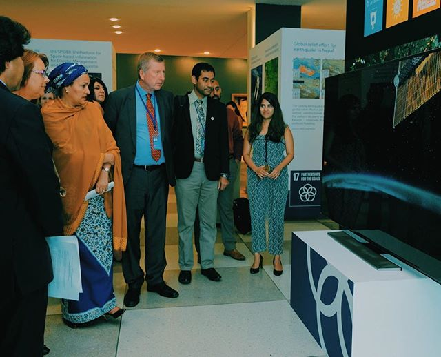 UN Deputy Secretary General Amina Mohammed, UNOOSA Director Simonetta Di Pippo, CANEUS International Chair Milind Pimprikar, and others viewing our video for the #MyPlanetMyFuture Exhibit last night. And of course our co-founder Sania watching their reactions! Such a great event and many thanks to all the groups and individuals who made it possible! @unitednations @unoosa and others!