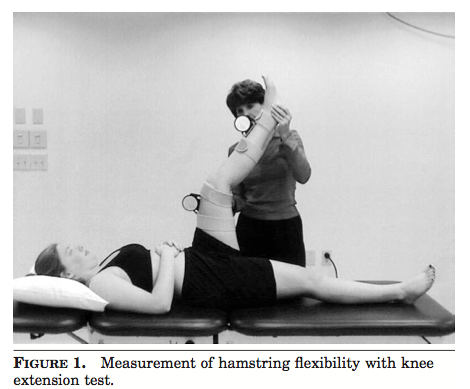 Passive knee extension test (Davis, Ashby, McCale, Mcquain, & Wine, 2005, p. 29).