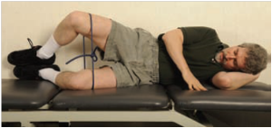 Selkowitz et al (2013) – clamshell movement, with blue resistance band, pelvis and feet touching wall, leg positioned in 45° hip, 90° knee flexion.