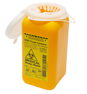 Sharps container for disposing of needles. Image courtesy of  Google Images